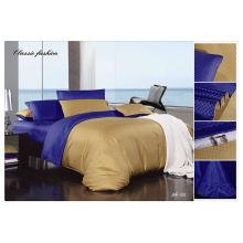 100% algodão 40s 133 * 72 jacquard de cor sólida conjunto de cama europeia de luxo