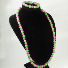 Green and Purple Beads Jewellery Set