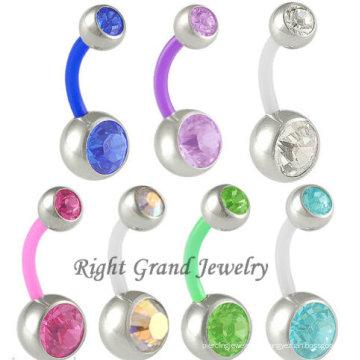 Doubles anneaux de bouton de ventre de bijou flexibles de presse de Flex Flex