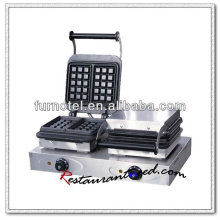 K321 2 chefs de table gaufrier électrique en acier inoxydable gaufrier