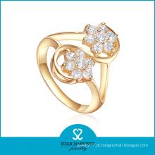 Anel de prata esterlina banhado a ouro com zircão AAA chapeado (R-0328)