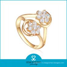 Позолоченное кольцо из серебра с покрытием из циркона AAA (R-0328)