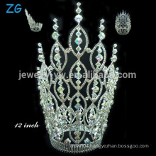 High quality rhinestone princess crowns, AB crystal crown for bride, large beauty pageant crowns