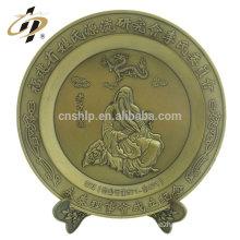 Custom zinc alloy 3D antique gold metal souvenir plate