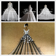 2017 New Design Draft Robe de mariée à manches longues à manches longues Robe de mariée en satin Tiamero 1A1310