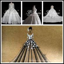 2017 новый дизайн проект эксклюзивное свадебное платье с длинным рукавом атласная свадебное платье Tiamero 1A1310