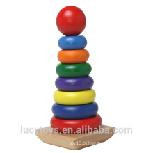 Brinquedo do Stacker da madeira do arco-íris