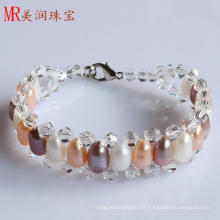 Bracelet à perles d'eau douce cultivé bon marché (EB1523-1)