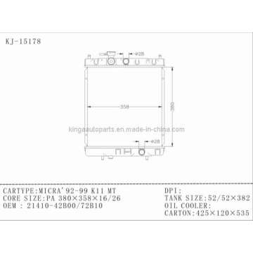 Autokühler für Nissan Micra 92-99 K11 OEM 21410-42b00