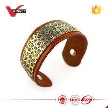 Bracelete de couro de chapa de metal largo 2015