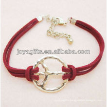 Peace symbol alloy with red leather cord bracelet