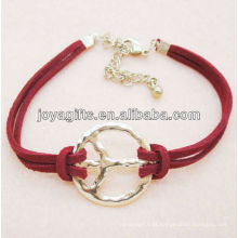 Liga de símbolo de paz com pulseira de cordão de couro vermelho