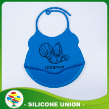 Custom Printing Logo Silicone Blue Cartoon Baby Bibs