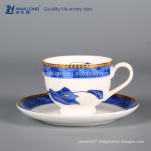 235ml Blue Painting Flower Style Ceramic Cup And Saucer, Fine Porcelain Drinking Cup