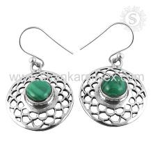 Novo Graceful Malachite Gemstone Earring 925 Sterling Silver Jóias Jóias Jaipur Online Silver Jewelry