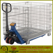 Saving space movable industrial boxes warehouse applied 4 layer stackable wire containers collapsible wire mesh cages