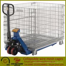 Экономия пространства подвижной склад промышленных коробок применяется 4 слоя штабелируемые контейнеры провода ячеистой сети складной клетки
