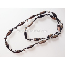 Long Hand Knotted Cold Color Natural Onyx Stone Beaded Necklace Sweater Necklace