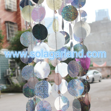 Dangling Light PVC Circle & Metal Chain Chandelier 80CM Tall
