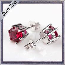 Pendientes de perlas de rubí creadas en laboratorio de corte brillante redondo de 6 mm