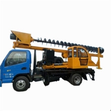 Wheeled spiral piling machine with excavator chassis