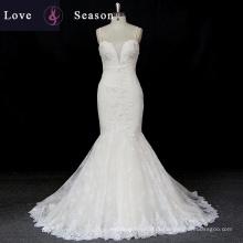 XW6690 cinta de espaguete sweetheart luxo sereia espaguete strip vestidos de noiva
