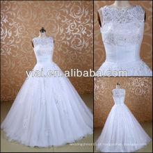 JJ3076 vestido de noiva de renda alta no pescoço
