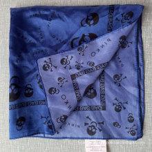 Blaue Polyester Satin Schädel Kleine Quadrate Stewardess Schal