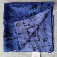 Blue Polyester Satin Skulls Small Squares Stewardess Scarf