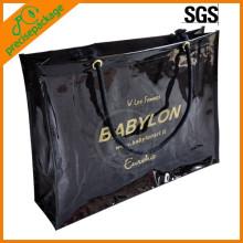 Bolsa de compras de PVC promocional recién reciclada con mango de algodón