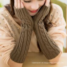 Arbeiten Sie bunte lange Arm-Wärmer, strickende Muster-Wollhandwärmer-Handschuhe um Großverkauf