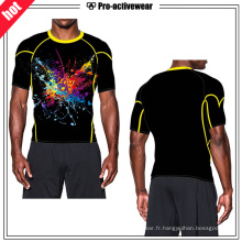 Vente en gros d'habillement Man Top Spandex Sublimation Compression Rash Guard