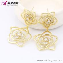 Xuping Fashion 14k Gold-Plated Flower Luxury Zirconia Earring 90041
