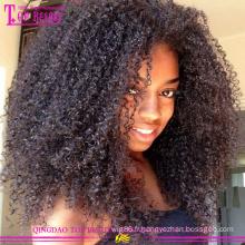 8A grade naturel afro perruques en gros pas cher haut de gamme indien cheveux bouclés afro perruques pour les femmes noires