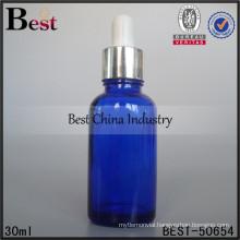 1oz blue glass oil bottle with aluminum cap dropper