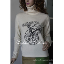 Ladies′ Cashmere Turtle Neck Pullover with Embroidery Cep1101L