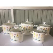 Reasonable price top quality factory enamel pot 5pcs enamel high pot set