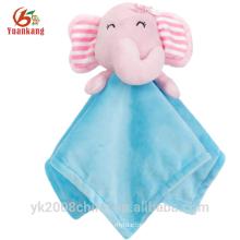 ICTI personalizado cabeça de pelúcia macia segurança cobertor bebê brinquedos