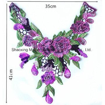 Многоцветный кружевной воротник с цветочным декором для шитья женского нижнего белья