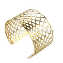Gold bangles latest designs hollow geometrical shape women's statement bangles fashion bracelets bangles jewellery manufacturer