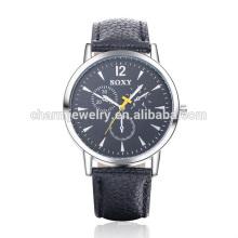 Günstige Simple Fashion Quarz Leder Armbanduhr SOXY008