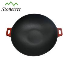 Industrieller chinesischer roter Emaille-Roheisen-Wok-Satz