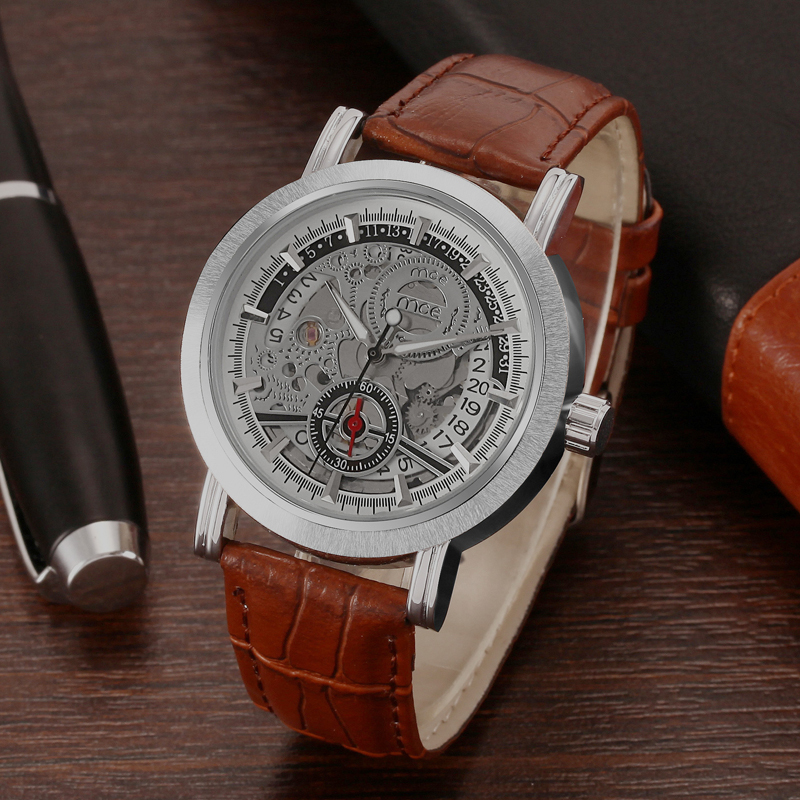 own brand case dial mens hand wrist watch