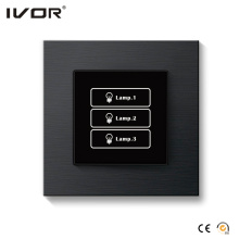 3 Gangs Lighting Switch Touch Panel Aluminum Alloy Outline Frame (HR1000-AL-L3-B)