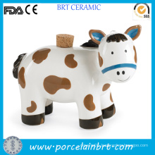 Cute Horse Ceramic Piggy Bank with Wooden Lid