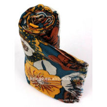high quality mercerized wool floral printed scarfs