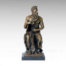 Mythology Bronze Sculpture God Moses Craft Brass Statue TPE-131