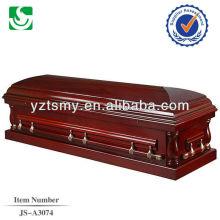 Ataúd de ataúd de sofá completo madera cerezo americano de alto brillo