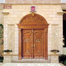 Porte d'entrée ancienne en bois sculpté et acajou