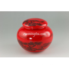 Chinese Red Landscape Porcelain Canister Set